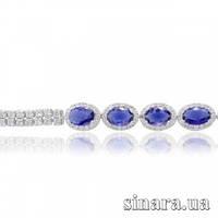 Серебряный браслет с синим цирконием 27667