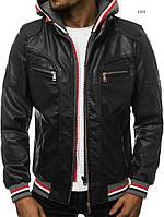 Мужская кожаная куртка демисезонная с капюшоном стильная черная отличного качества