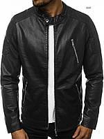 Мужская кожаная куртка демисезонная стильная черная отличного качества