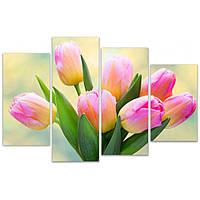 Разделенная модульная картина для декора дома IdeaХ Нежные тюльпаны, 120х81 см