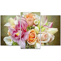 Разделенная модульная картина для декора дома IdeaХ Букет нежных цветов, 90x57 см