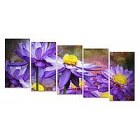 Разделенная модульная картина для декора дома IdeaХ Фиолетовая живопись, 150х80 см