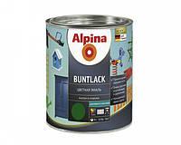 Эмаль алкидная Alpina Buntlack универсальная полуматовая (тёмно-зелёный RAL 6002) 0,75 л