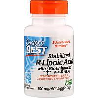 Стабилизированная R-липоевая кислота Doctor's Best, 100 мг, 60 капсул