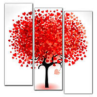 Красивая модульная картина на стену в гостиную IdeaХ Дерево любви, 90х100 см