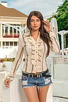 Рубашка с отложным воротничком на пуговичках с рюшами на груди и длинный рукав, фото 1