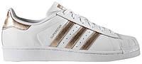 Мужские кроссовки Adidas Superstar White Gold (адидас суперстар, белые/золотистые)