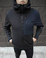 Куртка мужская Soft Shell Boris black-navy / ветровка осенне-весення