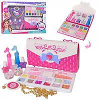 Большой набор детской косметики с сумочкой 2960: лаки и наклейки для ногтей, помады, тени, румяна