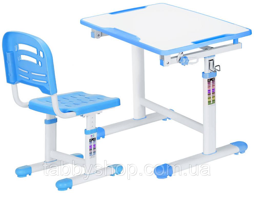 Комплект парта и стульчик Evo-kids Evo-07 Blue (столешница белая/пластик розовый)