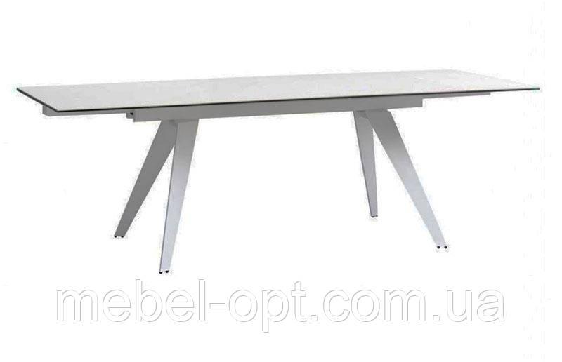 Стол раскладной Keen Jalam White стеклокерамика, оттенок белый мрамор 1600(+800)х900х760