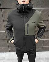 Куртка мужская Soft Shell Boris black-khaki / ветровка осенне-весення