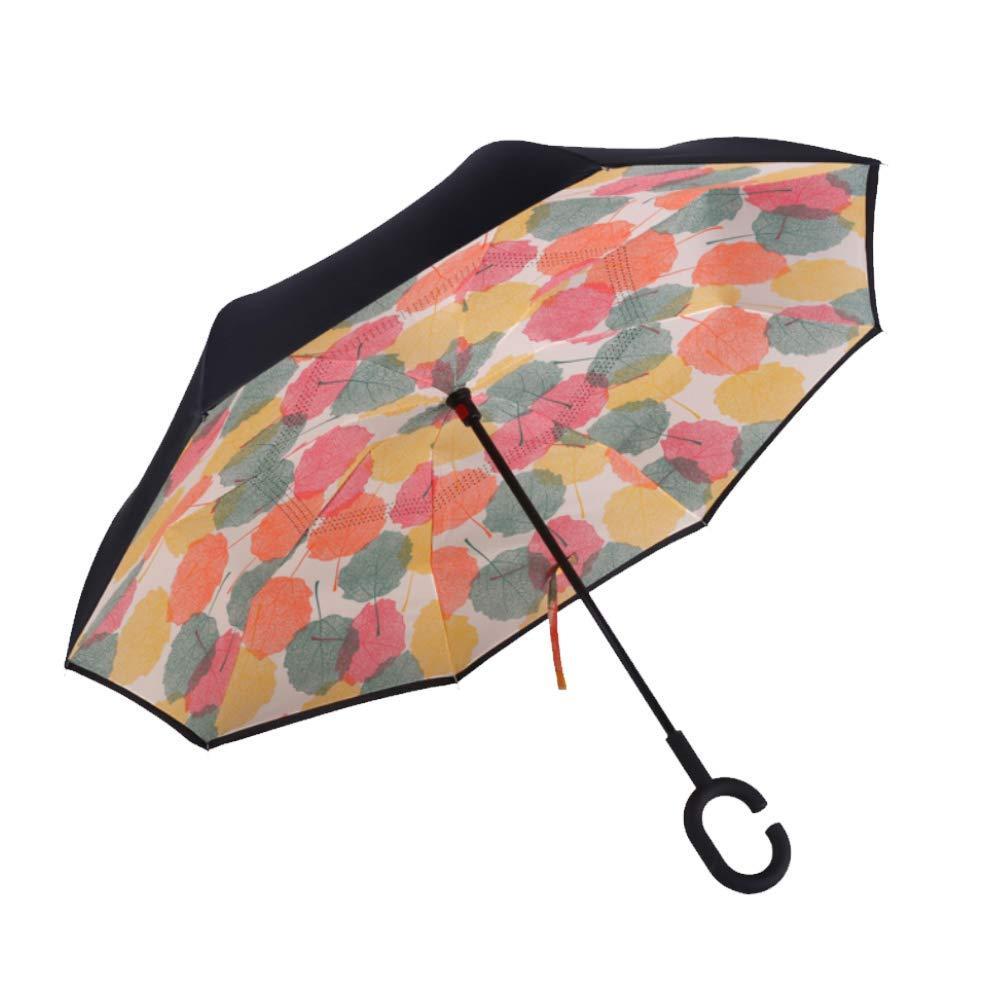 ➀Умный зонт Lesko Up-Brella Кленовый лист ветрозащитный антизонт обратное складывание смарт зонт прочная ткань
