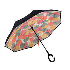➀Умный парасолька Lesko Up-Brella Кленовий лист вітрозахисний антизонт зворотне складання смарт парасолька міцна тканина