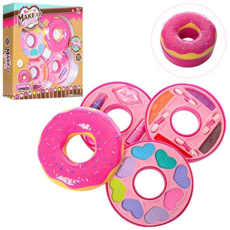 """Набор детской косметики """"Пончик"""" 10380 А: 3 яруса, тени, помада, блеск для губ"""