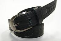 Ремень подростковый из цельной кожи (черный) Alon