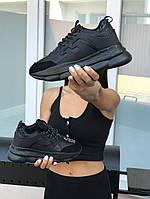 Кроссовки Versace Chain Reaction женские, черные, в стиле Версаче Чейн Реакшн, замша, кожа, код SD-8277