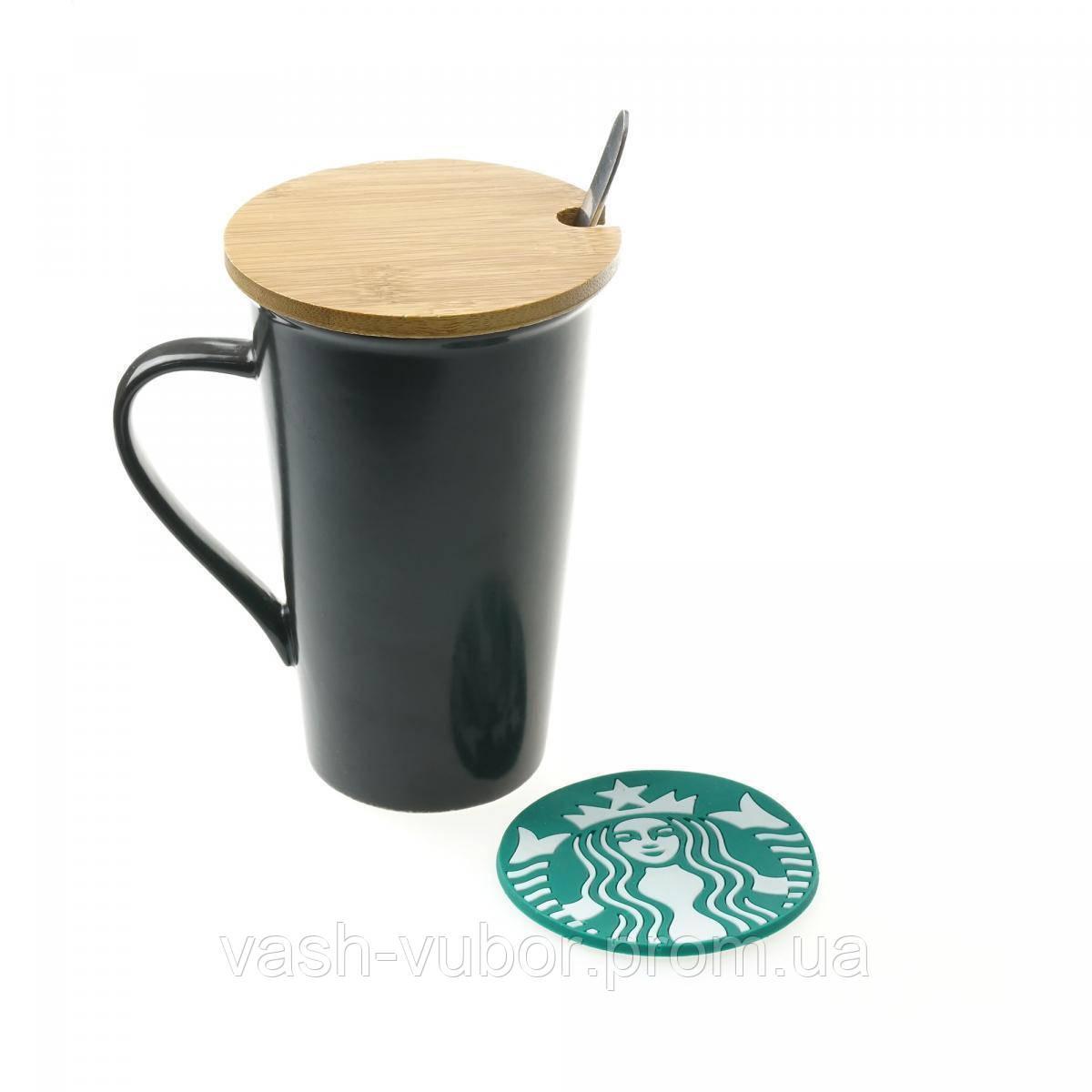 🔝 Набор Starbucks Memo: керамическая чашка 350 мл Черная, крышка, ложка, подставка, маркер | 🎁%🚚