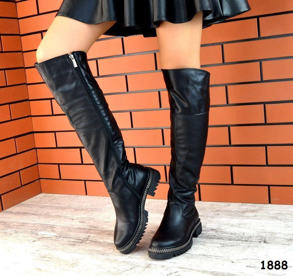 Демисезонные ботфорты черного цвета, натуральная кожа 36 39 ПОСЛЕДНИЕ РАЗМЕРЫ