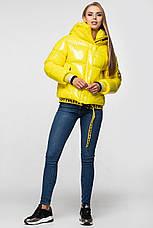 Лаковая женская короткая зимняя куртка KTL-310 (новая коллекция Зима 2019 - 2020) желтая, фото 3