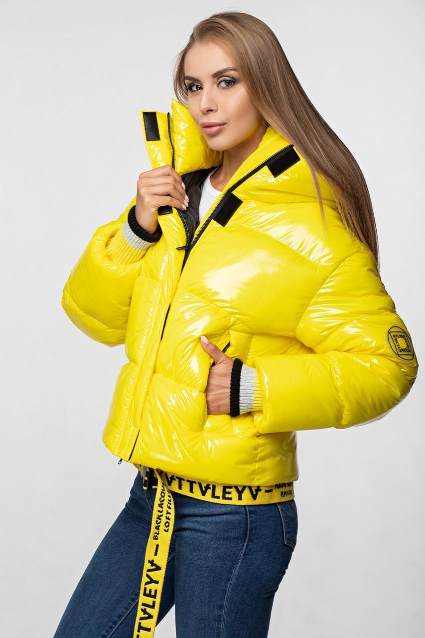 Лаковая женская короткая зимняя куртка KTL-310 (новая коллекция Зима 2019 - 2020) желтая