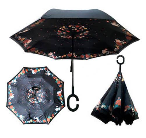 Зонт Наоборот - Зонт обратного сложения Up-brella Розы №54, фото 2