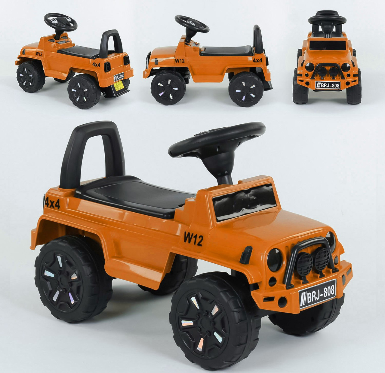 Детский толокар JOY 808 G-8109 Оранжевый, русское озвучивание, световые эффекты, багажник