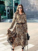 Длинное платье с рукавом леопард, фото 1
