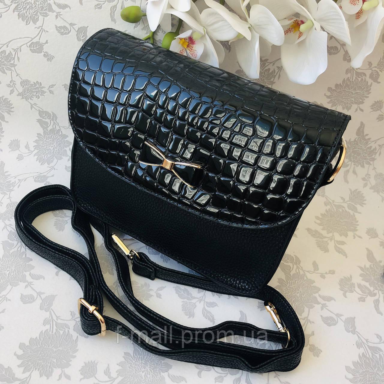 Стильная женская сумка с бантиком черная  (163)