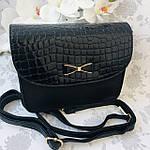 Стильная женская сумка с бантиком черная  (163), фото 2