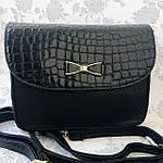 Стильная женская сумка с бантиком черная  (163), фото 4