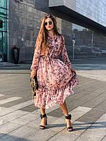 Длинное платье из шифона в цветах, длинный рукава