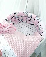 Комплект в круглую кроватку - бортики + простынь + плед