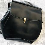 Рюкзак женский трансформер черный кожзам (8808), фото 6