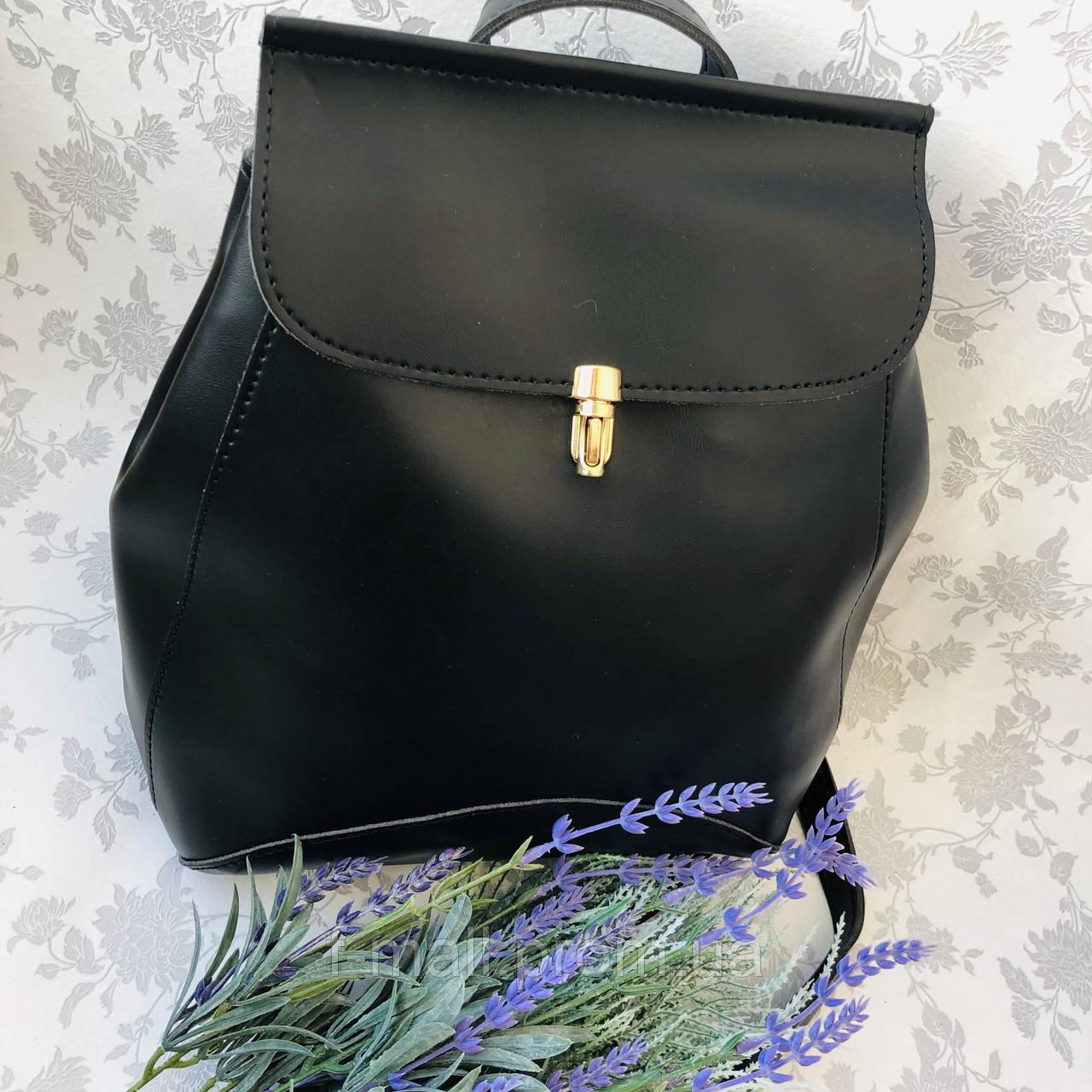 Рюкзак женский трансформер черный кожзам (8808)