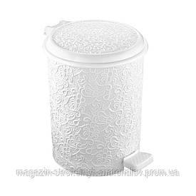 Ведро для мусора Ажур с педалью белое Elif plastik 326-1LF