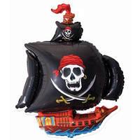 Фольгированный шар Пиратский корабль 38см х 29см Черный