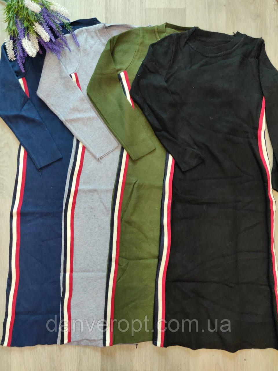 Платье женское молодёжное с лампасами размер универсальный 42-46 купить оптом со склада 7км Одесса