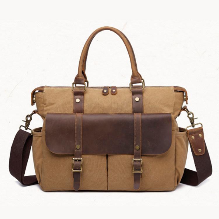 Мужской винтажный портфель S.c.cotton хаки