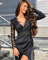Шикарное черное короткое вечернее платье с длинными рукавами
