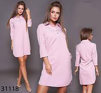 Женское платье поло с воротником рукав три четверти 42, 44, 46