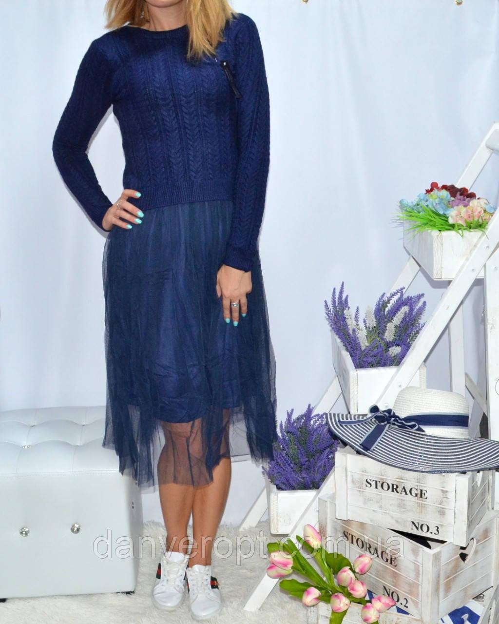 Платье женское стильное с фатином размер универсальный 42-46 купить оптом со склада 7км Одесса