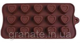 Силиконовая форма для конфет Сердечки   22х10,5х1 см