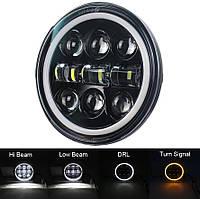Фара головного світла мото LED 5,75 дюймів, денні ходові вогні, габарит, 9 - 32, кругла, Harley-Davidson