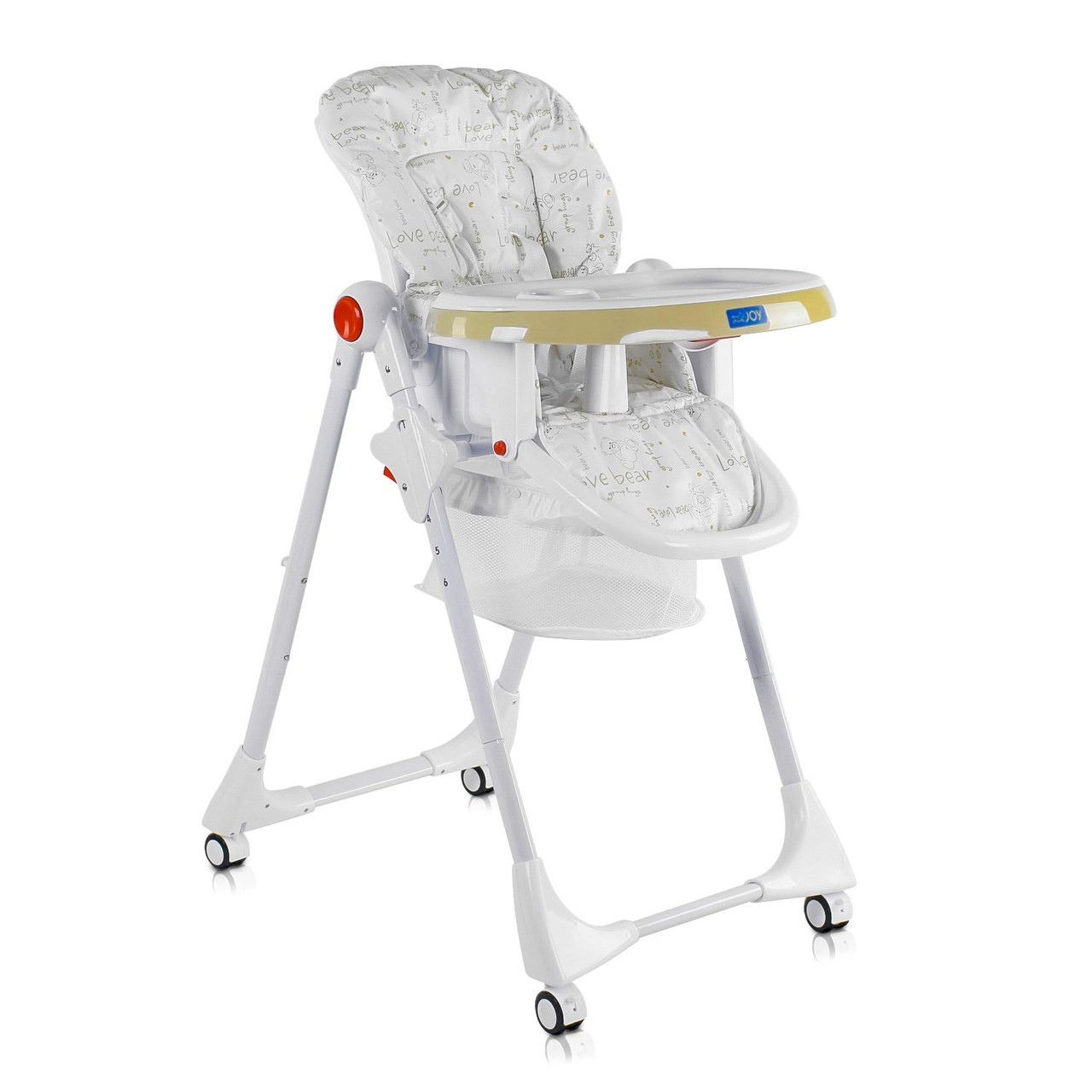 Детский стульчик для кормления JOY К-44009 Мишки Цвет бело-бежевый Мягкий PVC Быстрая доставка