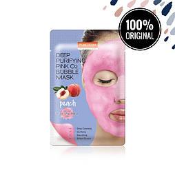 Кислородная очищающая маска с экстрактом персика PUREDERM Deep Purifying Pink O2 Bubble Mask Peach