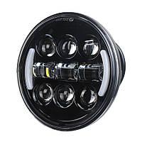 Фара головного світла мото LED 5,75 дюймів, денні ходові вогні, габарит, 9 - 32, кругла, фото 1