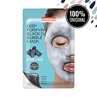 Кислородная очищающая маска с древесным углем PUREDERM Deep Purifying Black O2 Bubble Mask Charcoal
