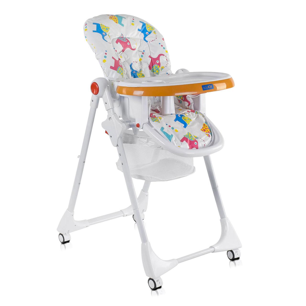 Детский стульчик для кормления JOY К-55448 Слоники Цвет бело-оранжевый Мягкий PVC Быстрая доставка