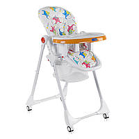 Детский стульчик для кормления JOY К-55448 Слоники Цвет бело-оранжевый Мягкий PVC Быстрая доставка, фото 1